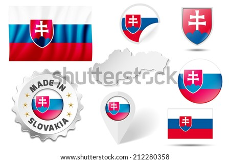 Set of flags, maps etc. of Slovakia - isolated on white. Vector illustration. - stock vector