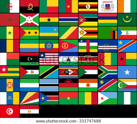 Set of flags of African countries. Flag symbol, Flag element, Flag sign, vector Flag, Flag picture, Flag illustration, isolated Flag, image Flag, silhouette Flag, Flag design, Flag graphic - stock vector