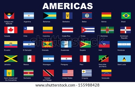 set of flags of Americas vector illustration - stock vector