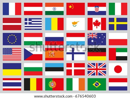set of flags of different countries in flat style