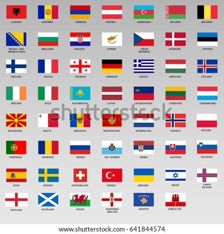 set of Flags of members UEFA. Flags of Europe, Vector Illustration