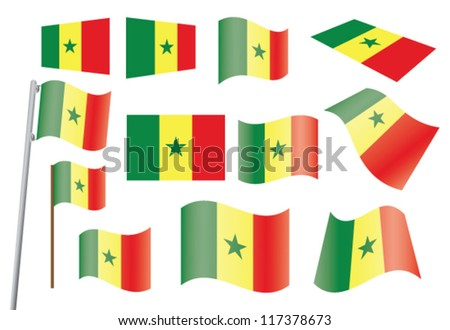 set of flags of Senegal vector illustration