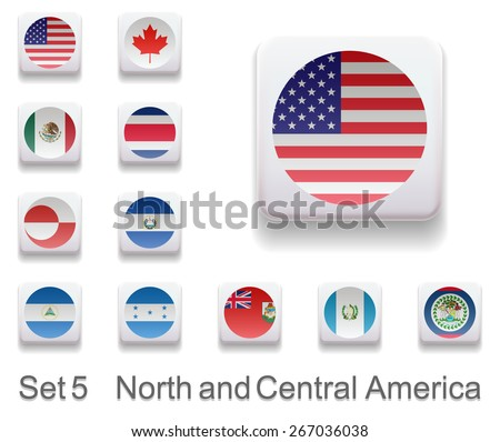 Set of 8. Flags of the countries of West Asia. Flag in the form of computer button. All elements and textures are individual objects. Each image has a name. Illustration. Vector. Icon. - stock vector