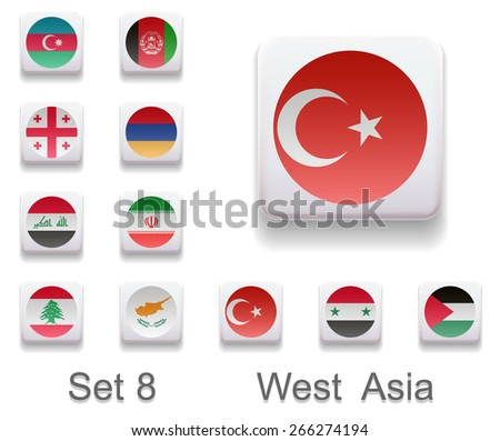 Set of 8. Flags of the countries of West Asia. Flags in the form of computer button. All elements and textures are individual objects. Each image has a name. Illustration. infograph Vector. Icon. - stock vector
