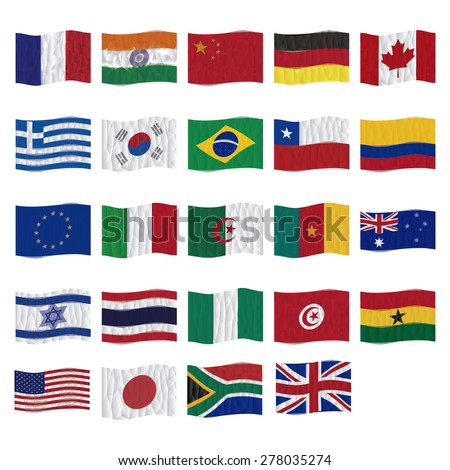 Set of flags on a white background. Low Poly vector illustration