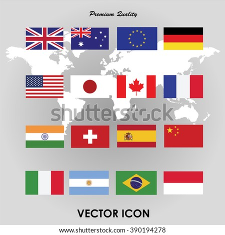Set of flags. Vector illustration