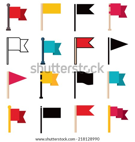 Set of flags, vector illustration icons isolated on white background - stock vector
