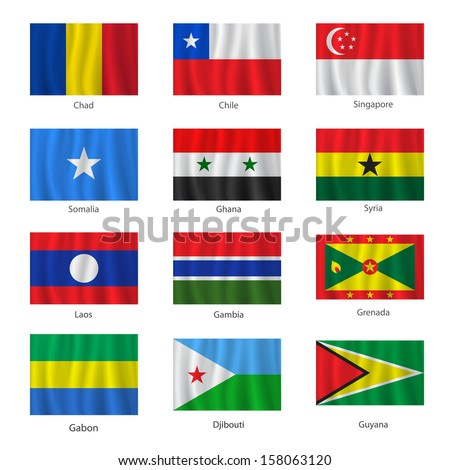 Set of flags with titles on the white background