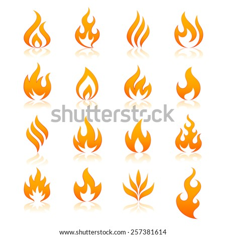 set of 16 flame and fire vector icons. Vector file is fully layered - stock vector