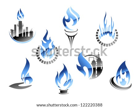 Set of flame icons with a petrochemical plant showing gas extraction and various icons showing domestic usage and consumption of gas as a fuel. Jpeg version also available in gallery - stock vector