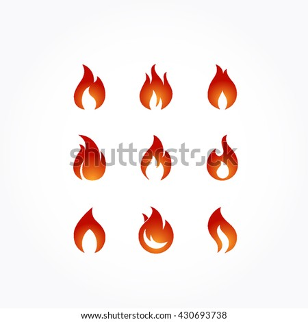 set of flames. six variant of different shape of flaming fire in gradient red orange - stock vector