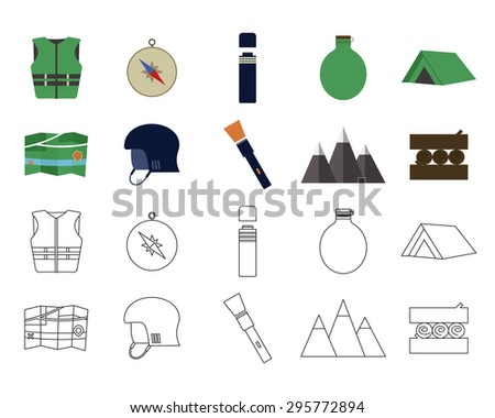 Set of flat adventure traveling icons. Camping elements. Flat and thin line design. Outdoor activity style. Hiking, backpacking and mountain tourism. Vector illustration