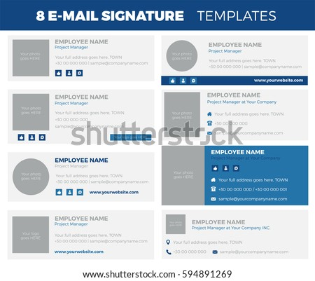 Set 8 flat modern email signature stock vector 594891269 for Modern email design