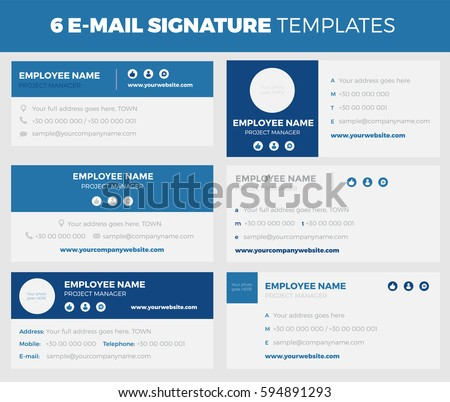 Set  Flat Modern Email Signature Stock Vector Hd Royalty Free