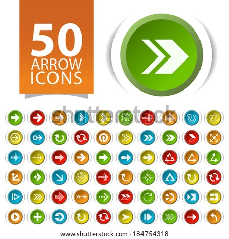 Set of 50 Flat Arrow Icons on Circular Buttons.