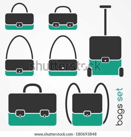 Set of flat bag icons: handbag, shoulder bag, briefcase, backpack, travel suitcase - stock vector