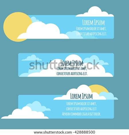 Set of flat banners with  sky, sun, clouds and place for text.
