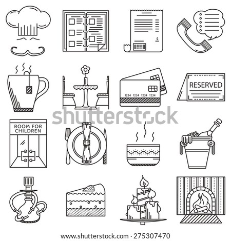 Set of flat black line vector icons for restaurant and cafe on white background. - stock vector