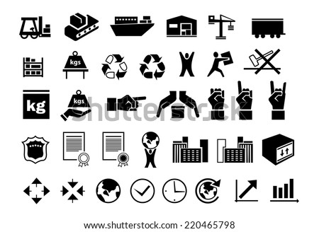 set of flat black logistic icons - stock vector