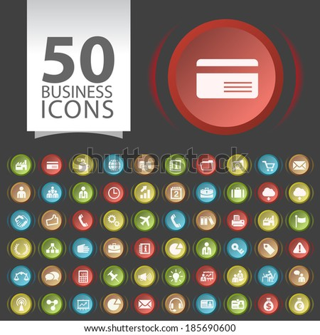 Set of 50 Flat Business Icons on Contemporary Circular Buttons on Black Background. - stock vector