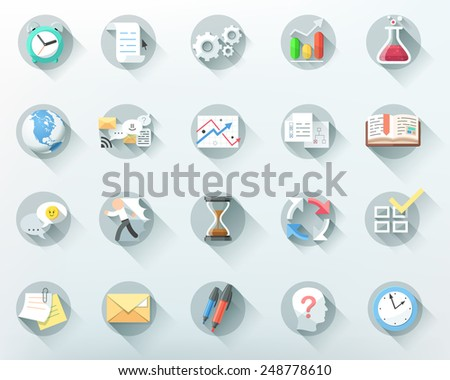 Set of 20 flat business icons. Vector. Can be used for web design, workflow layout and infographic - stock vector