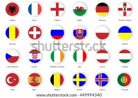 Set of Flat buttons badge of European teams with National Flag