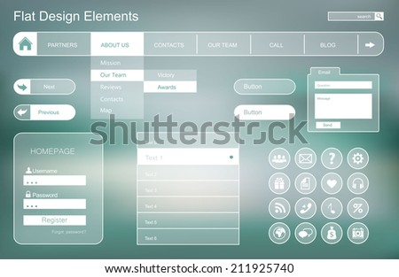 Set of flat buttons for web site and mobile application. Ui Application (app) - stock vector