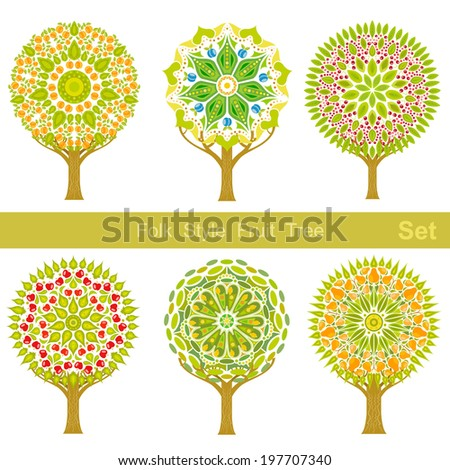 set of flat cartoon folk style fruit trees  - stock vector