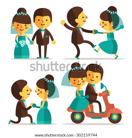 Set of  flat characters -  wedding ceremony. Bride and groom walk to the aisle,  bride and groom dance, boy proposes to girl,  husband and wife go on a honeymoon. Cute and funny couple of lovers. - stock vector