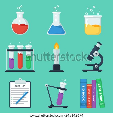 Set of flat chemistry vector icons - stock vector