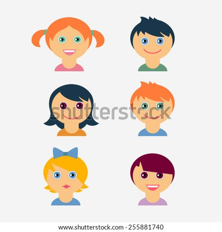 set of  flat children vector icons