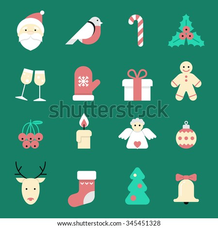 Set of flat Christmas icons isolated. Flat Style with. Modern Trendy Design. Vector Illustration for web, card, poster, banner, frame.