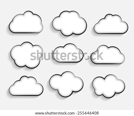 Set of Flat Cloud Shaped Frames with Long Shadows Vector Illustration EPS10 - stock vector