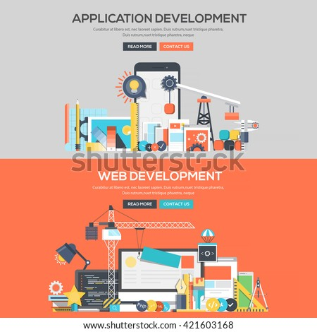 Set of Flat Color Banners Design Concepts for Application Development and Web Development.Vector - stock vector
