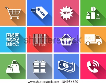 Set of flat color buttons. Vector illustration - stock vector
