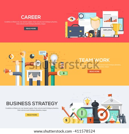 Set of flat color design web banners for Career, Team Work and Business Strategy.Vector - stock vector