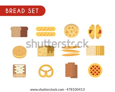 Set of flat color icons. Bread: toast, baguette, pie, pita bread, croissant, pastry, pretzel, ciabatta.