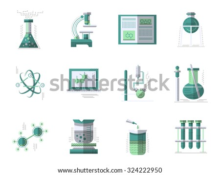 Set of flat color style vector signs and icons for chemistry. Laboratory equipment, test and research. Science symbols. Elements of web design for business.  - stock vector