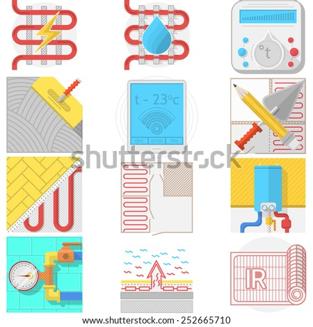 Set of flat color vector icons for heated floor service or store on white background. Set of flat color vector icons for heated floor service or store on white background. - stock vector