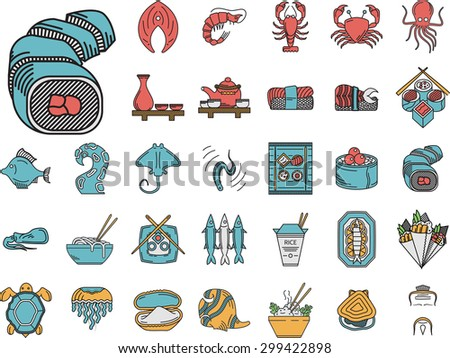 Set of 32 flat color vector icons with black contour for asian or japanese restaurant. Sushi rolls, traditional drinks, prepared fish, rice dish and other seafood menu elements for business or website - stock vector