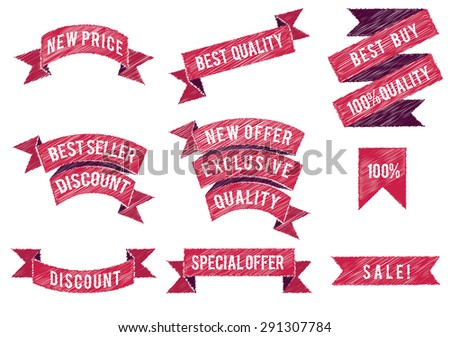 Set of flat colored ribbons. Vector illustration. - stock vector