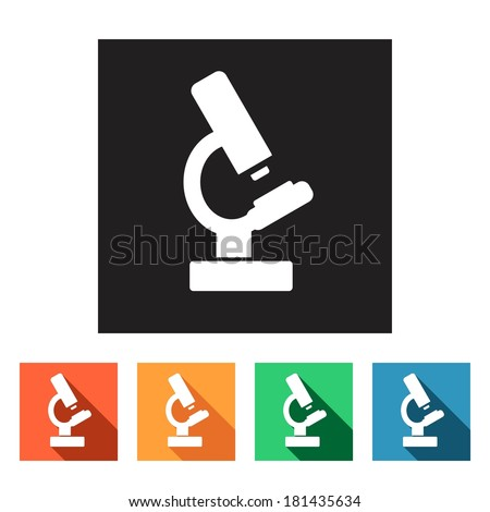 Set of flat colored simple icons (microscope, science, physics, chemistry), vector - stock vector