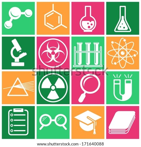 Set of flat colored simple icons (science, physics, chemistry), vector illustration - stock vector
