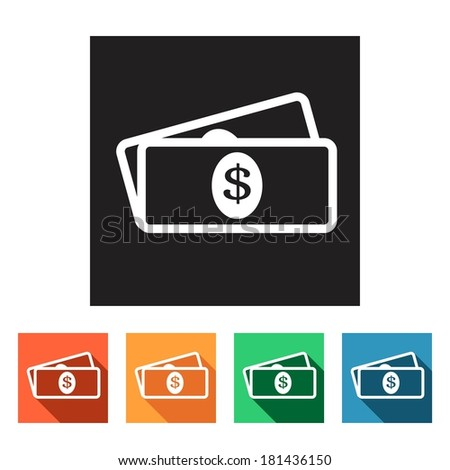 Set of flat colored simple web icons (bundle of bank notes, money, hard cash), vector illustration - stock vector