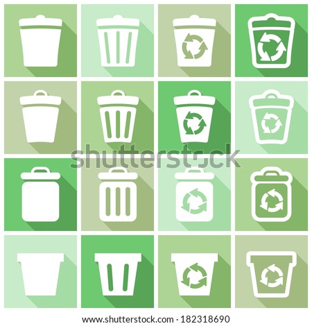Set of flat colored simple web icons (recycle bins, dustbin, delete), vector illustration - stock vector