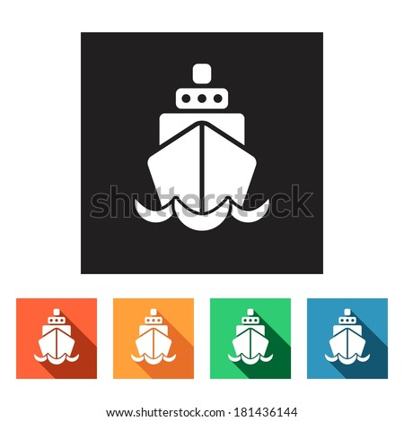 Set of flat colored simple web icons (ship, boat, logistics, marine, cruise), vector illustration - stock vector