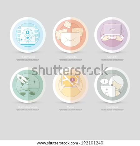 Set of flat colorful concept elements with icons for website, mobile and print templates - stock vector