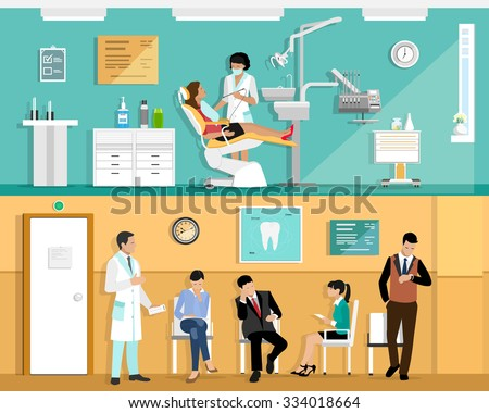 Set of flat colorful vector dentist office interior design with dental chair, dentist, patient and dental tools. Patient waiting room in the dental clinic.  - stock vector