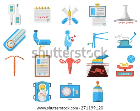 Set of flat colors style vector icons for elements and objects for gynecology and obstetrics on white background. - stock vector