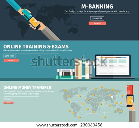 Set of flat concept design for m banking, online training and exams and online money transfer. Icons and illustrations for web and mobile apps and design interface. - stock vector